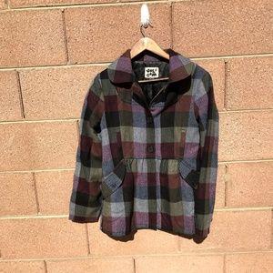 Volcom Plaid Green Purple Black Coat/ Jacket  L